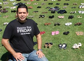1500 Pairs of Shoes Lined up to Honor Road Toll Victims