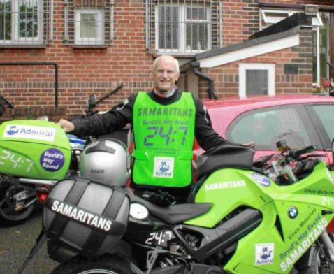 Samaritans Volunteer to Spread Awareness on Motorbike